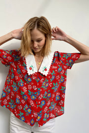 Flora - Garden Party Red Short Sleeved Blouse