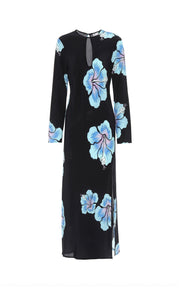 Amanda - Abstract Hawaiian Flower - Black Blue