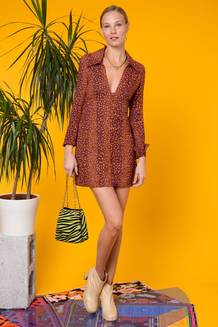Jackie - Orange Micro Garden Stripe Brown Orange Mini Shirt Dress