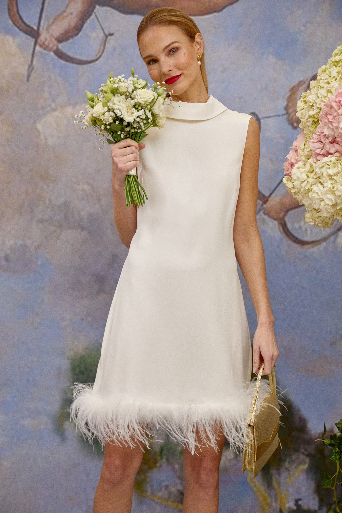 CANDICE - SATIN BACK SILK CREPE Silk Shift Dress With Feathers Regular price