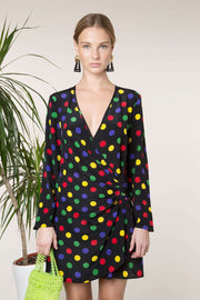 Abba - Multi Polka Dot Mini Wrap Dress