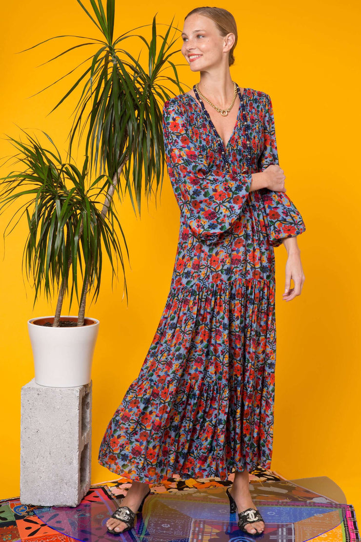 Brooke Embroidery Floral Blue Maxi Dress