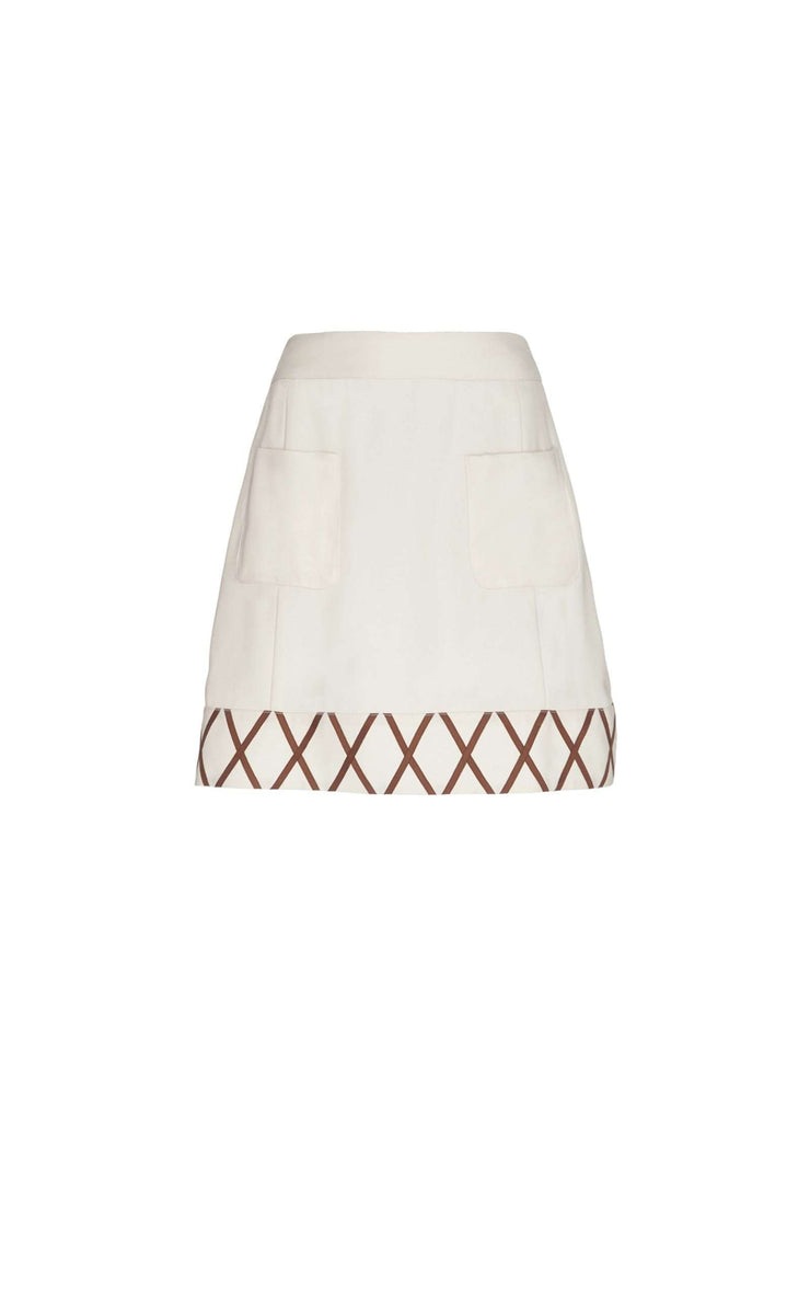Kitty - Ivory Panelled Mini Skirt