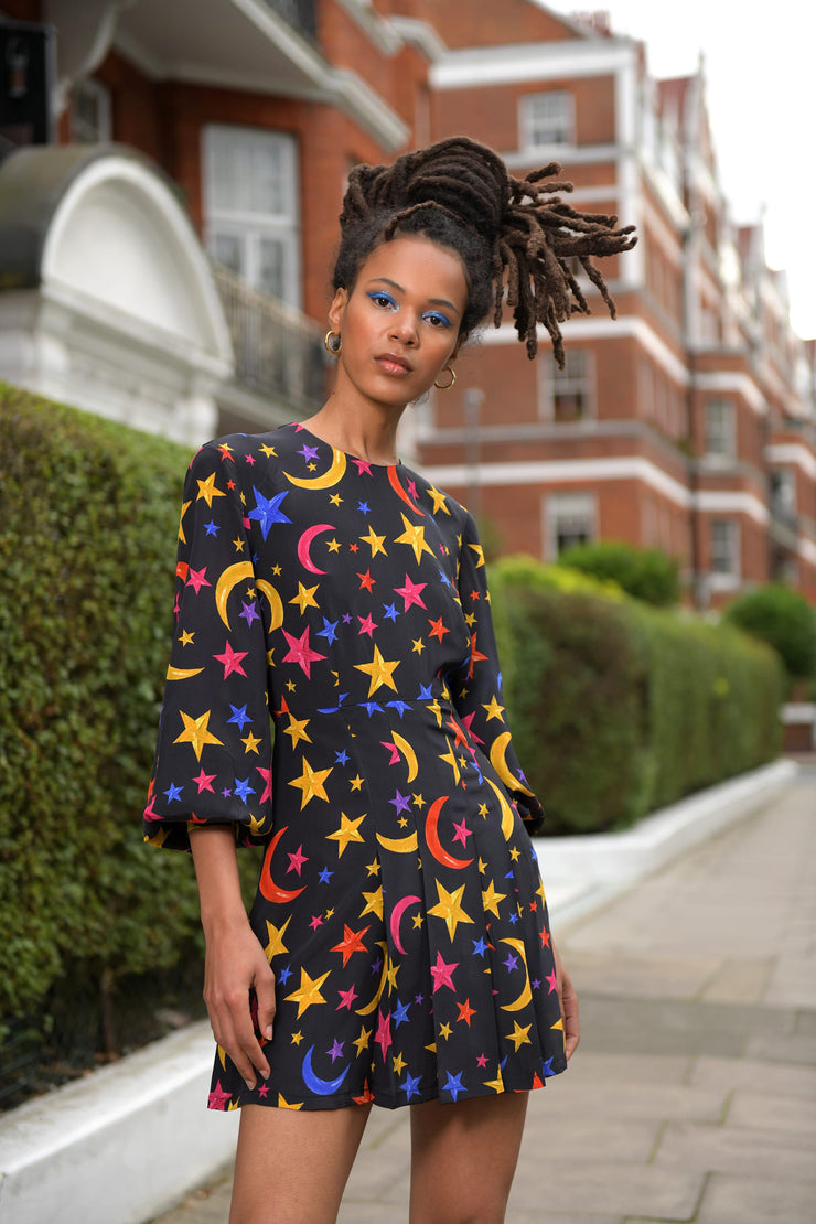 Andy - Brushstroke Nightsky Mutli Long Sleeve Pleated Mini Dress