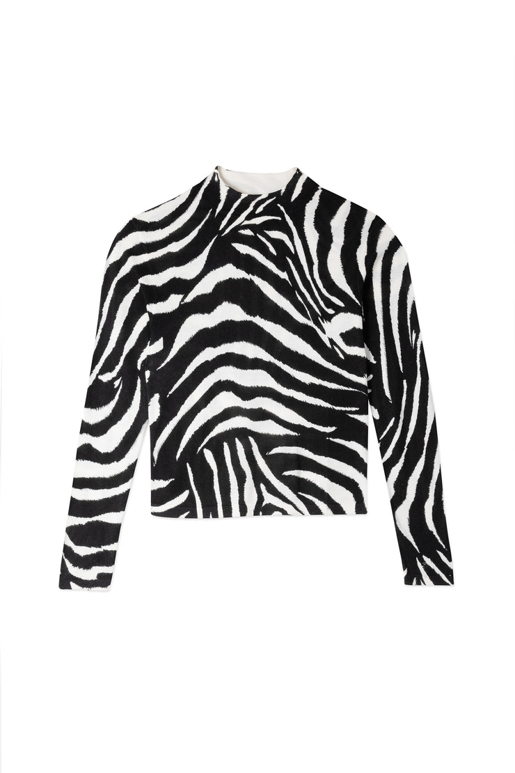 Tully - Mono Zebra Fine Gauge Polo Neck Jumper