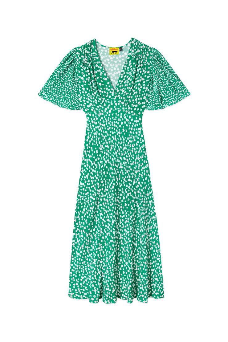 Bessie - Micro Mod Green Floral Flutter Sleeve Midi Dress