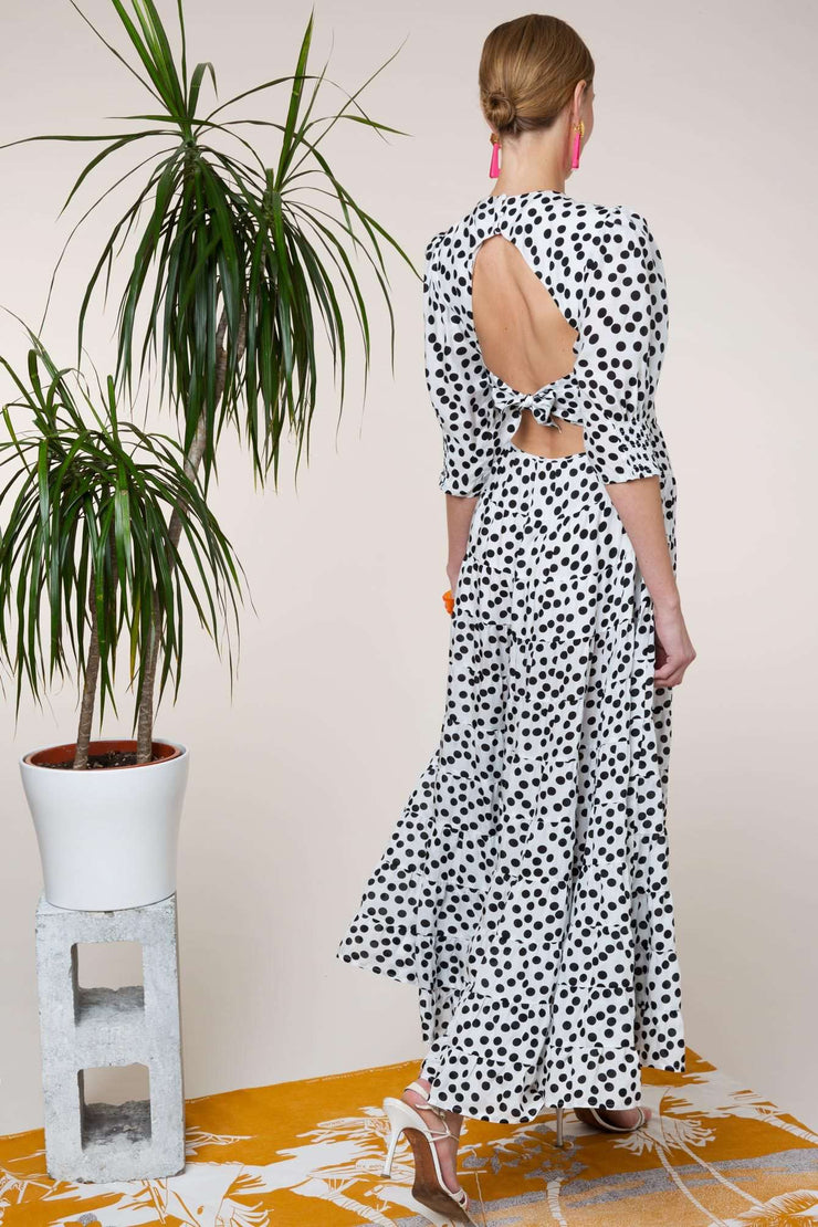 Agyness - Polka Dot Tiered Maxi Dress with an Open Back and Tie Detail
