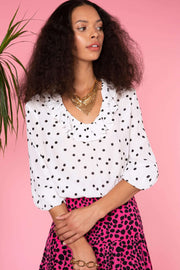 Alora - Polka Dot Burnout Frill Neck Blouse