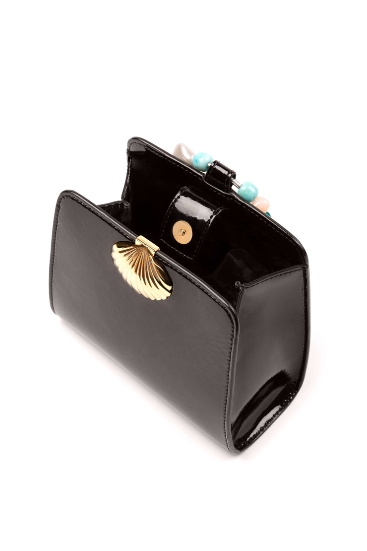 Amelie - Black Patent Mini Pouch