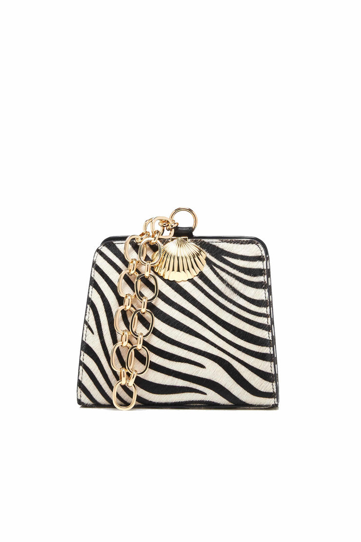 Amelie - Mono Zebra Mini Pouch With Wristlet