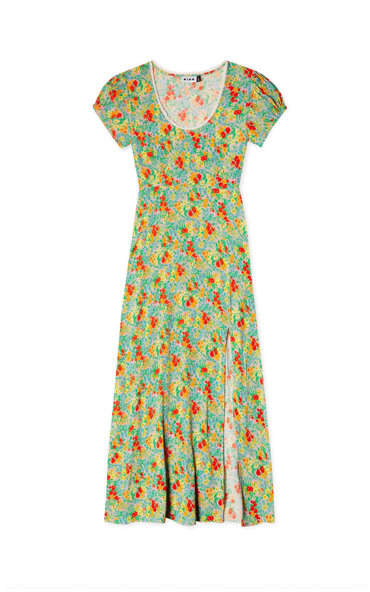 Anita - Retro Micro Floral Short Sleeve Midi Dress