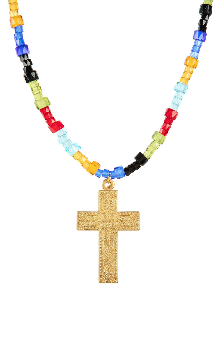 Arya - Gold Plated And Multi Cross Beaded Necklace
