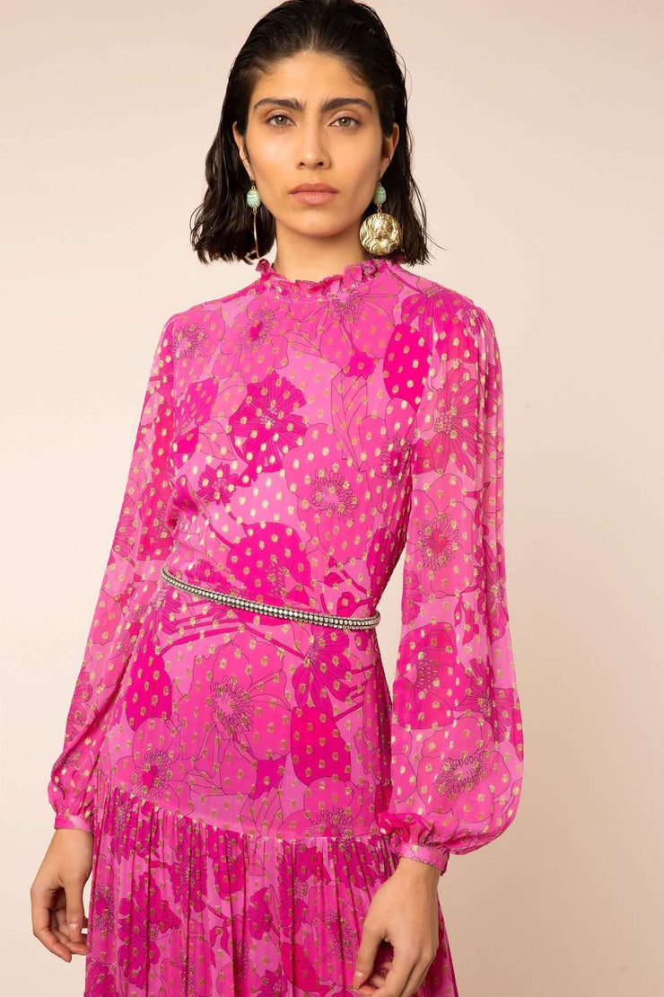Becky - Abstract 60s Floral Pink Long Sleeve Midi Dress