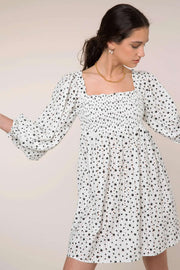 Bethany - Mini Star White Black Long Sleeve Mini Dress