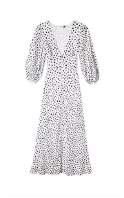 Blair - Mini Star White Black Long Sleeve Button Down Dress