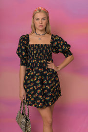 Brenda - Garden Disty Black Mini Dress