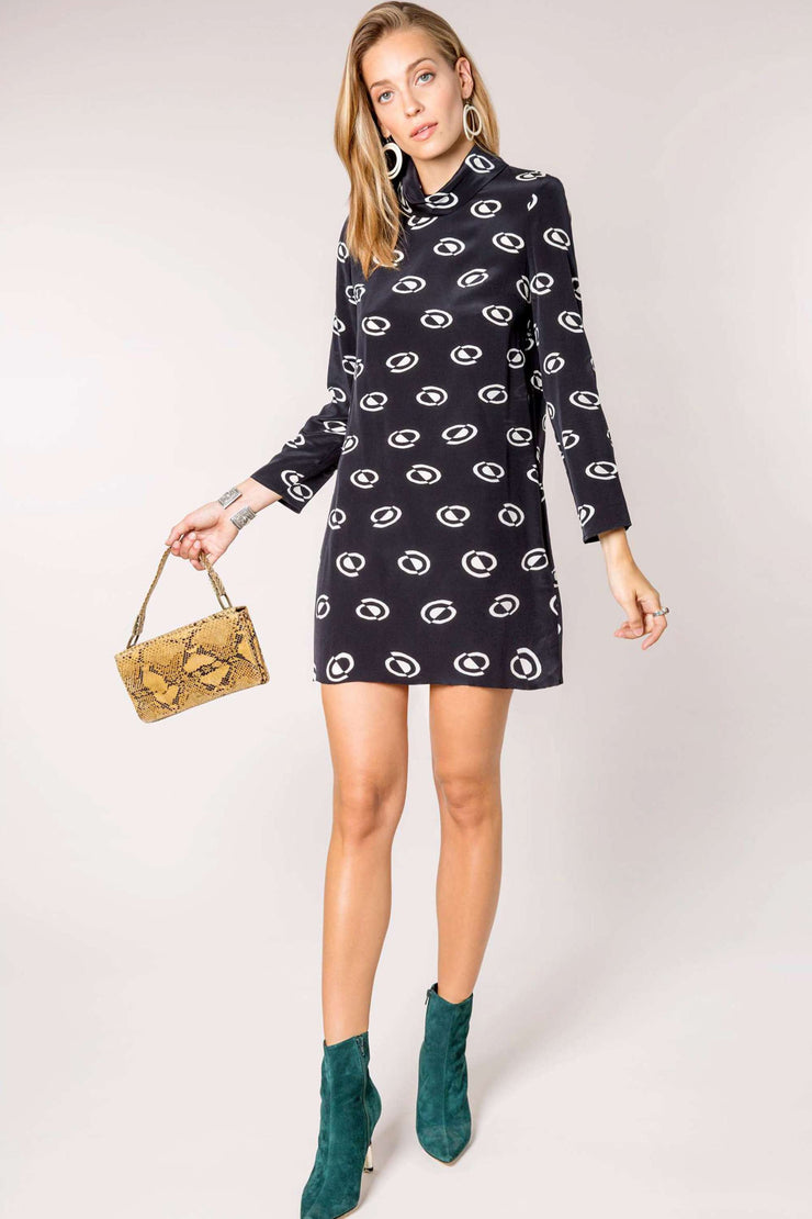Bardot - Space Age Spot Mini Dress With Cowl Neck