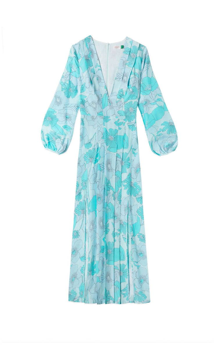 Camellia - Abstract 60s Floral Blue Long Sleeve Midi Dress