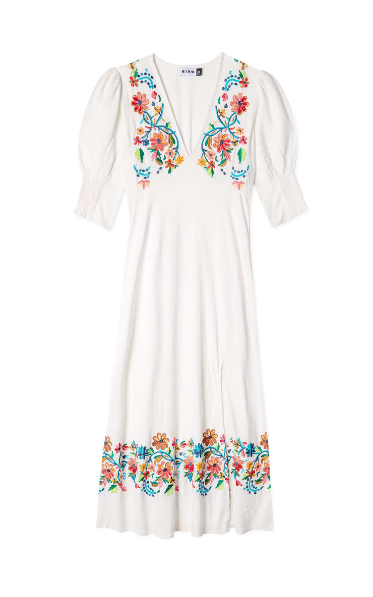 Carmen - Multi Floral Embroidery Short Sleeve Midi Dress With Slit