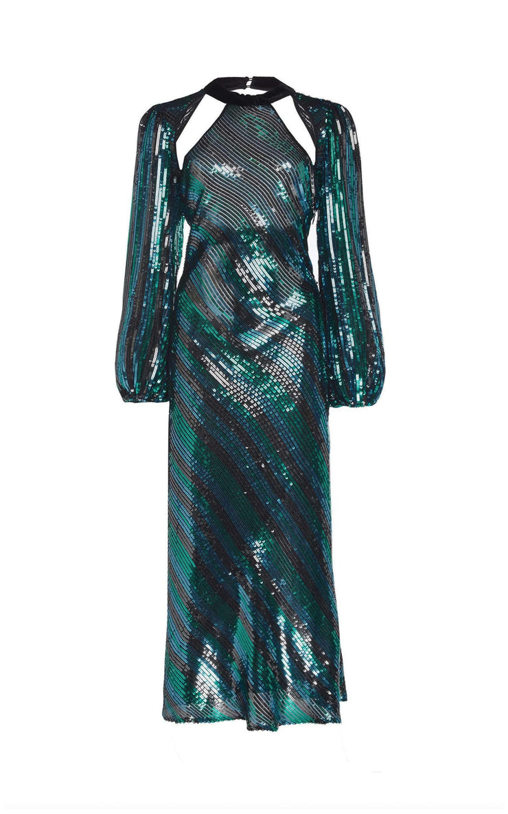 Celia - Diagonal Stripe - Teal Black Blue Long Sleeve Midi Dress With Cut Outs