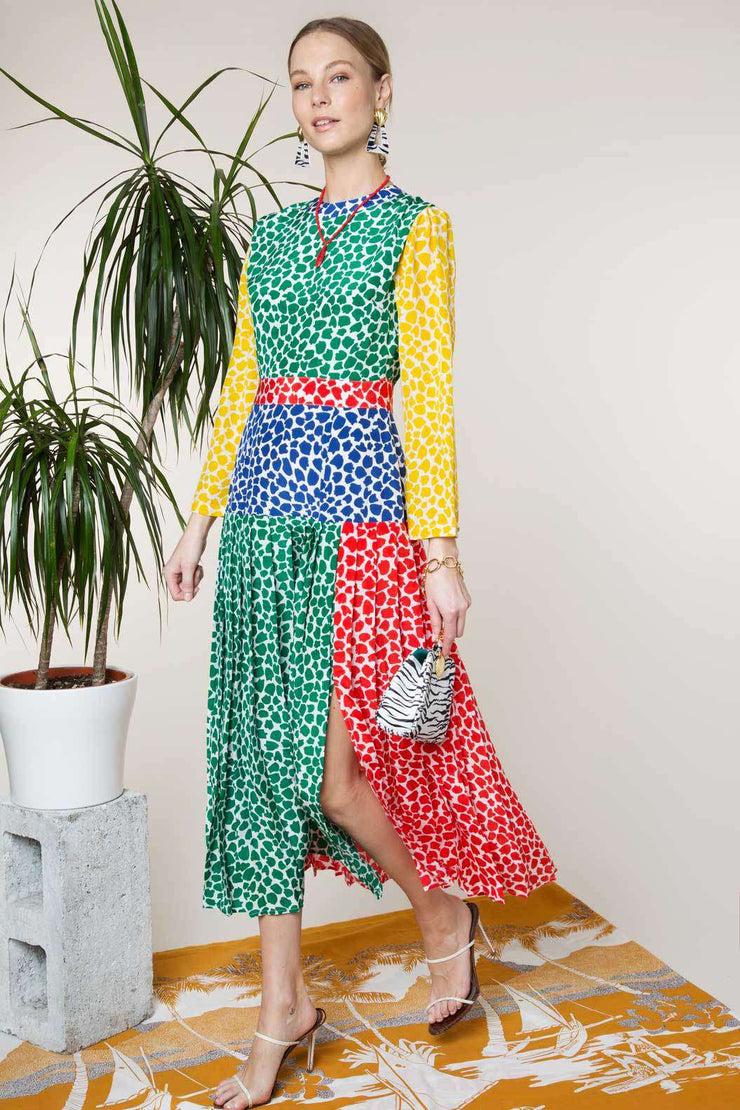 Charlene - Psychedelic Tulip Midi Dress With Slit