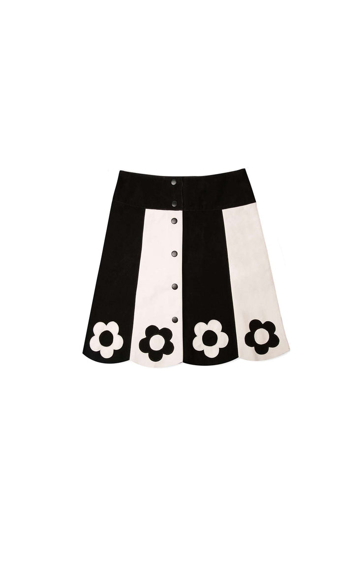 Cher - Black and Off White Mini Skirt with Leather Applique