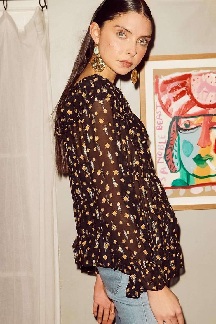 Chloe- Mini Star Black Gold Long Sleeve Top
