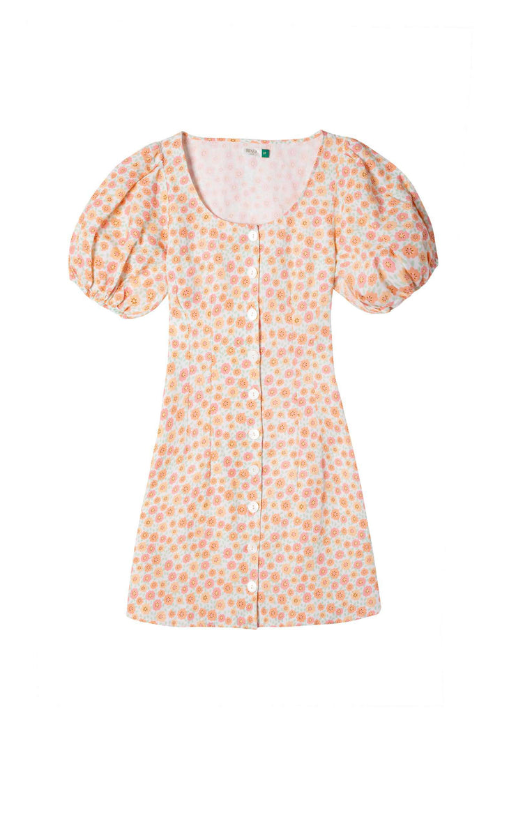 Christy - Retro Micro Floral Button Up Mini Dress