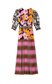 Cozi - Abstract 60's Check Floral Short Sleeved Midi Dress