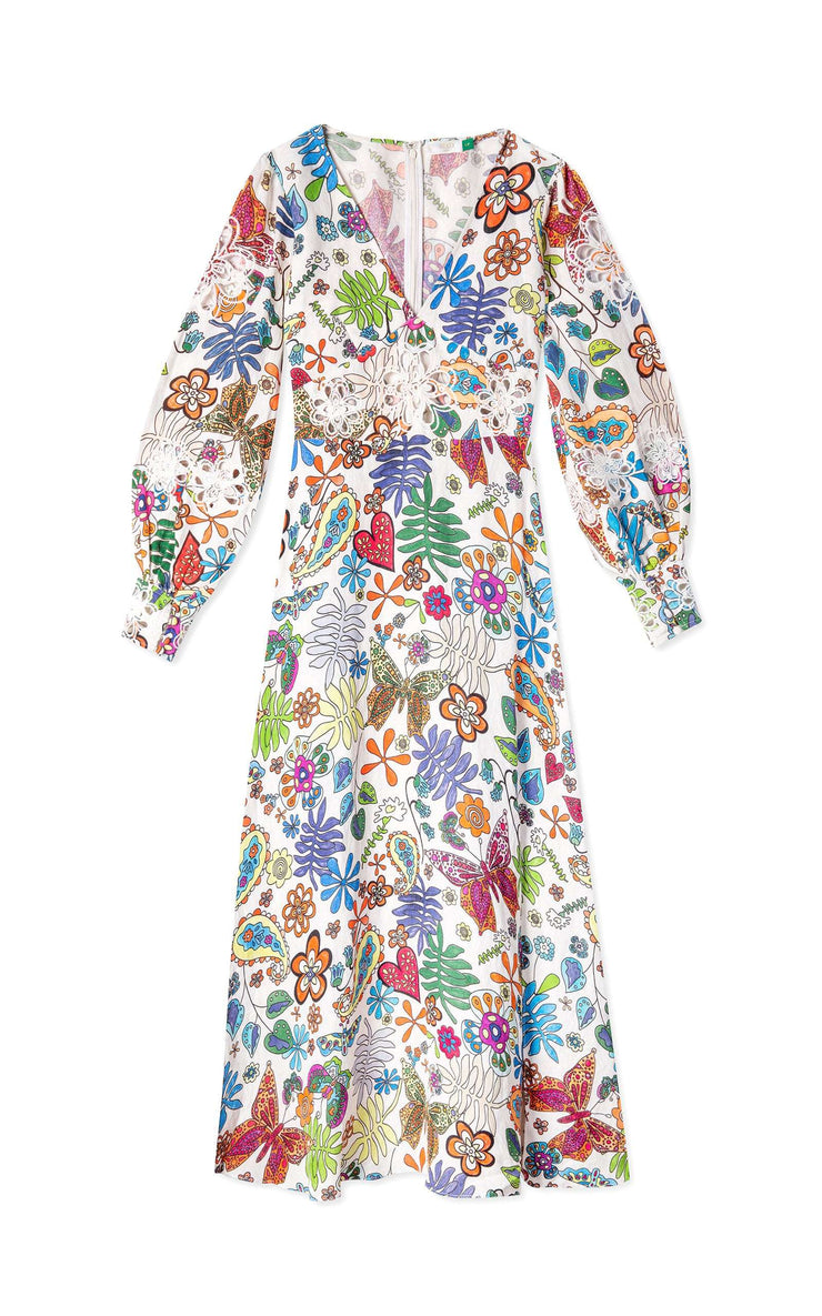 Dada - Woodstock Cream Multi Embroidered Long Sleeve Midi Dress