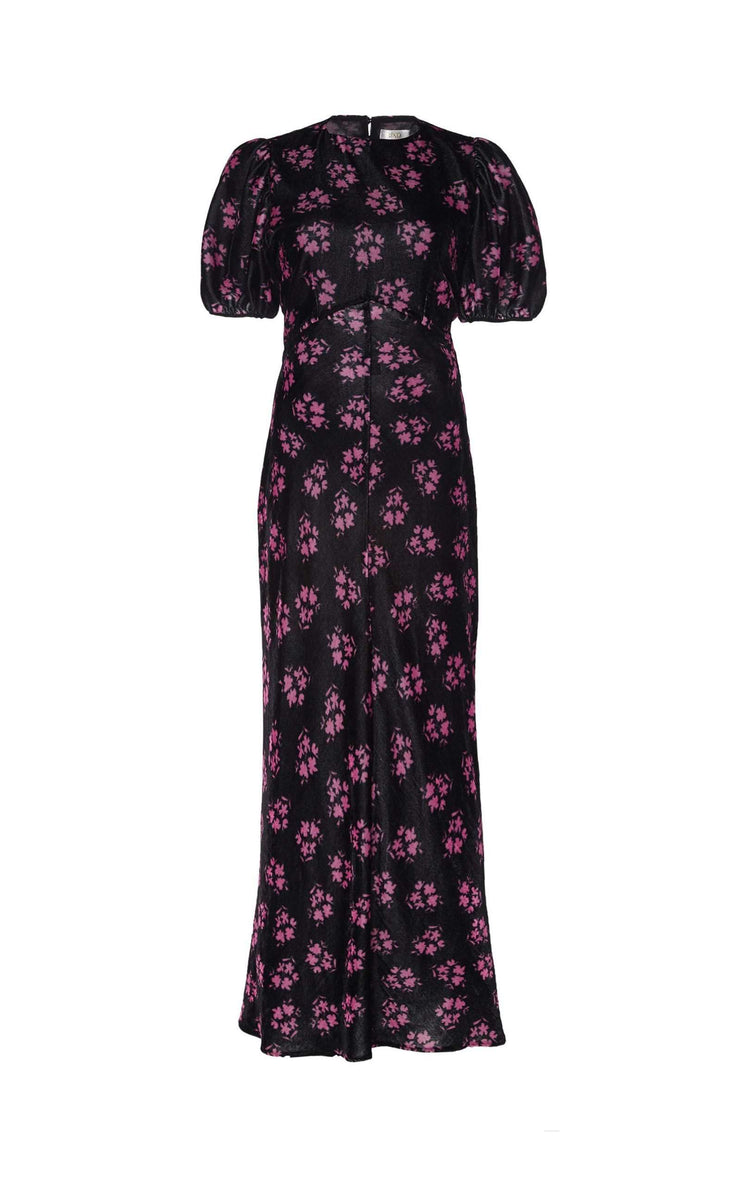 Daisy - Velvet Bunch Shadow Floral - Black Pink Open Back Midi Dress