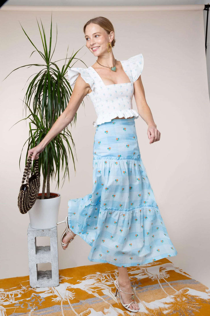 Danny - Blue Check Ditsy Floral Panelled Midi Skirt