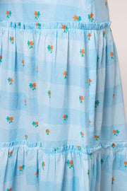 Danny - Blue Check Ditsy Floral