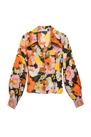 Daria - Abstract 60's Floral Long Sleeve Shirt