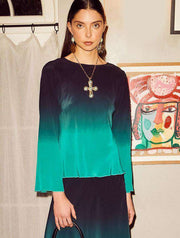 Demi - Dip Dye Teal Blue Flare Sleeve Top