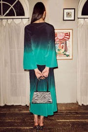 Kelly - Dip Dye Teal Blue Midi Slip Skirt