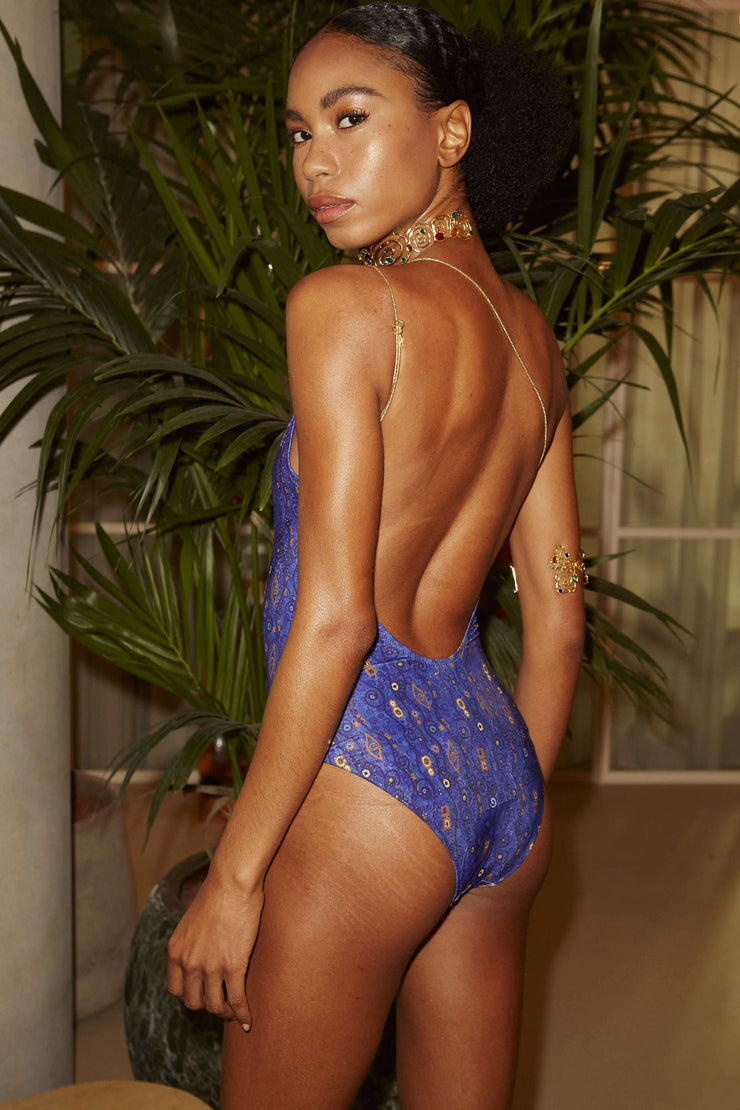 Edie - Klimt Eye Wave Blue Gold Foil Asymmetric Swimsuit