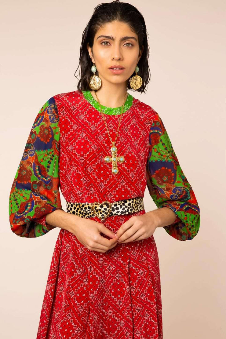 Emma - Boho Paisley Check Long Sleeved Midi Dress