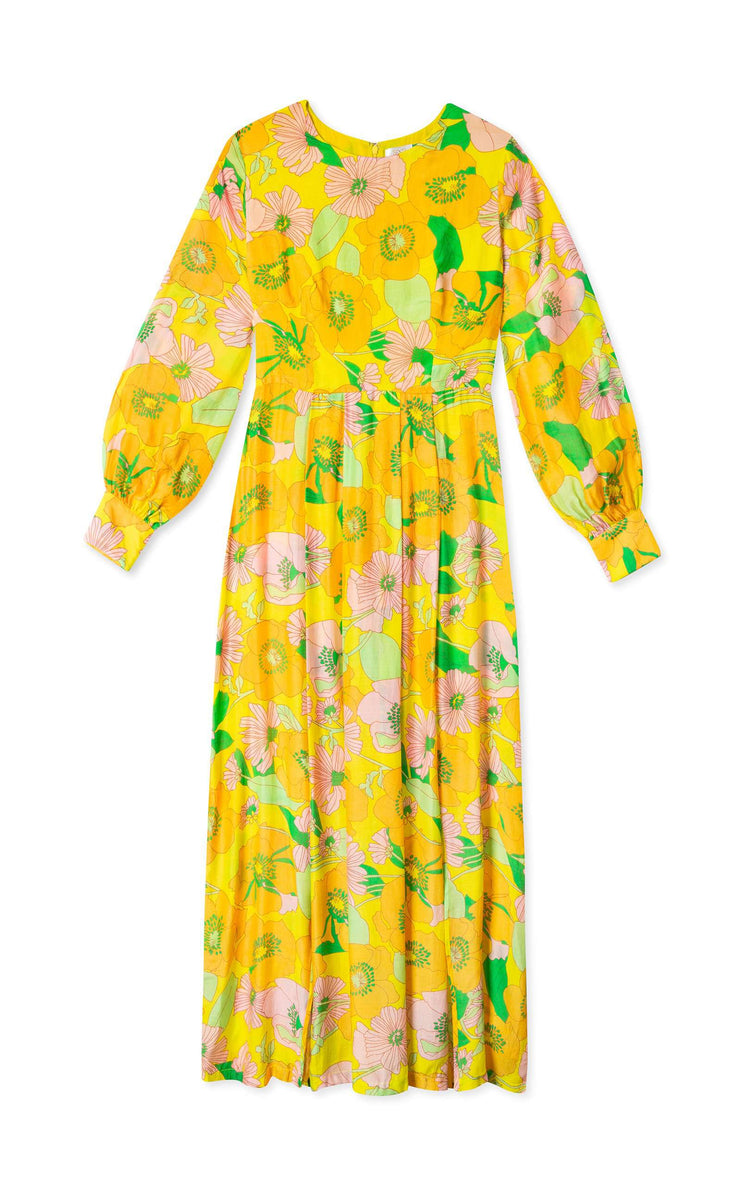Emma - 60s Floral Long Sleeve Midi Dress
