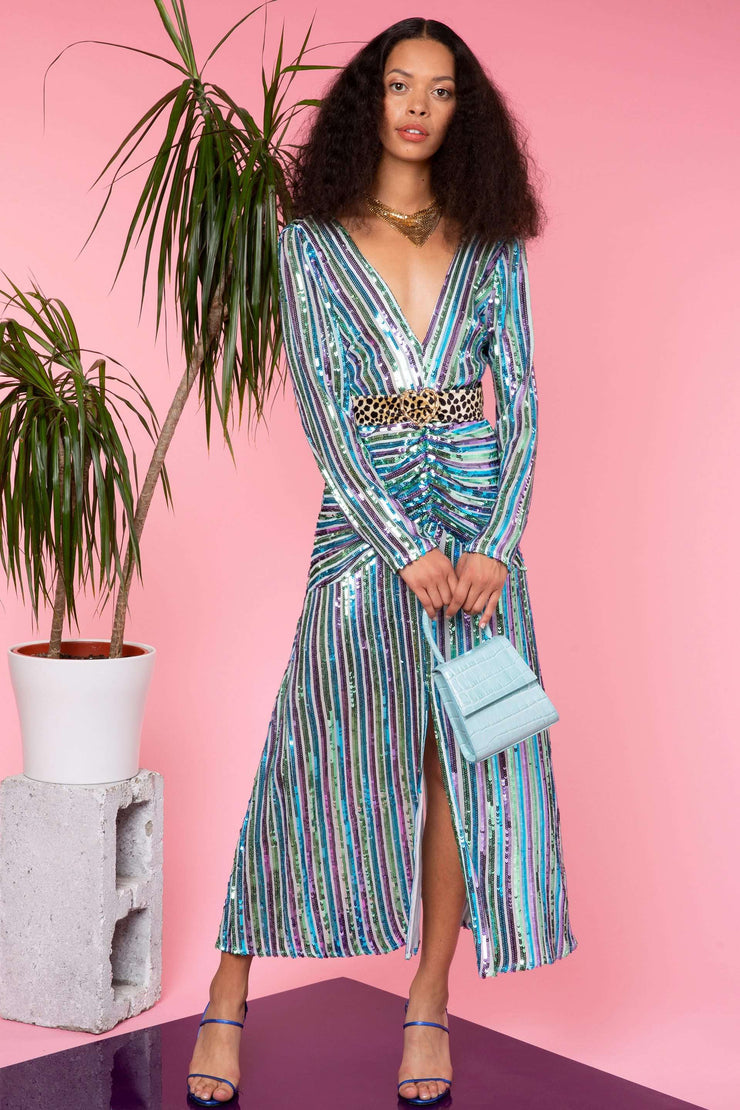 Emmy - Multi Stripe Sequin Long Sleeve 'V' Neck Midi Dress