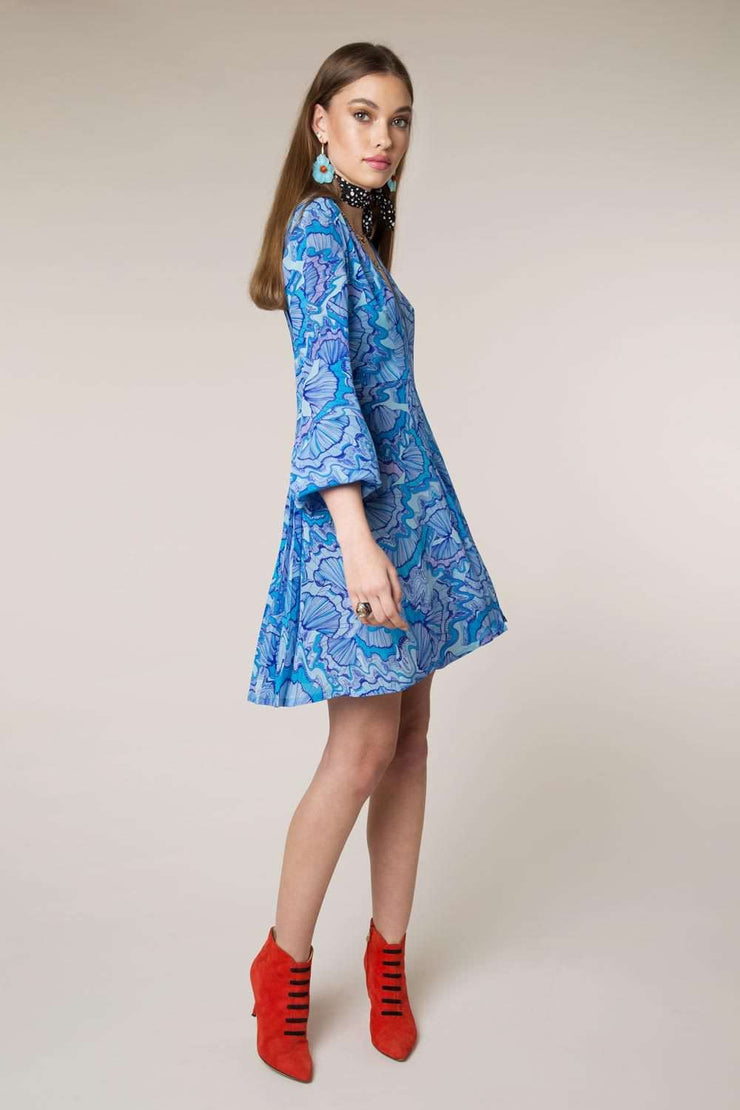 Harper - Psychedelic Shell V-Neck Silk Dress