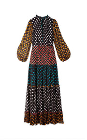 Heather - Polka Dot Mix Tiered long sleeve midaxi dress