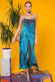Sylvie - Teal Patchwork Leopard Midi Slip Dress