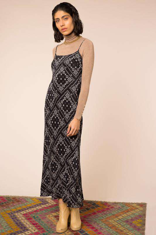 Holly - Black Paisley Check Slip Midaxi Dress