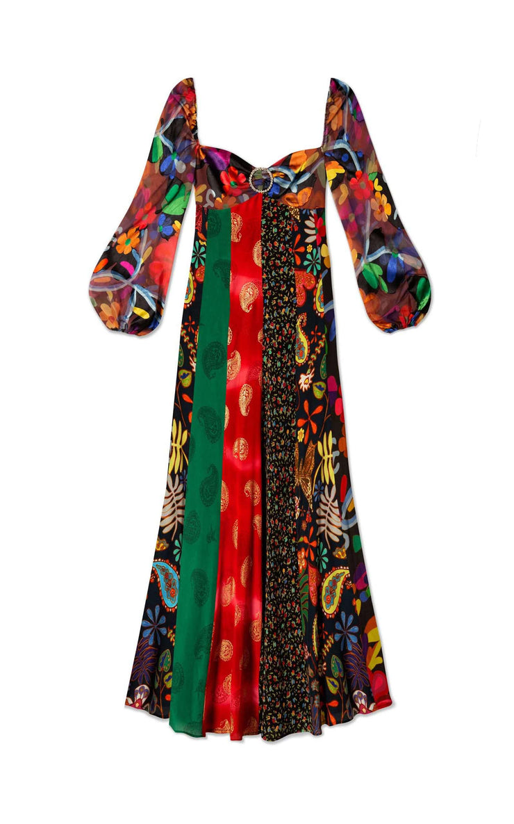 Ivy - Mixed Woodstock Floral Long Sleeve Midi Dress