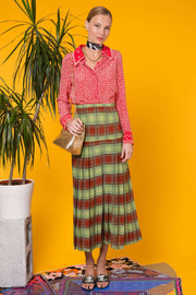 Tina - Retro Plaid Brown Green Midi Pleated Skirt