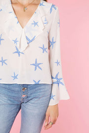 Jane - Starfish Cream Blue Ruffle V-Neck Blouse
