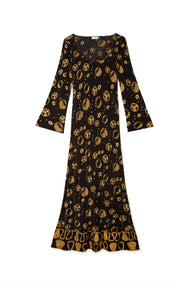 Jasmine - Klimt Spot Black Gold Midi Slip Dress
