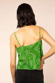 Jill - Green Paisley Check Slip Cami Top
