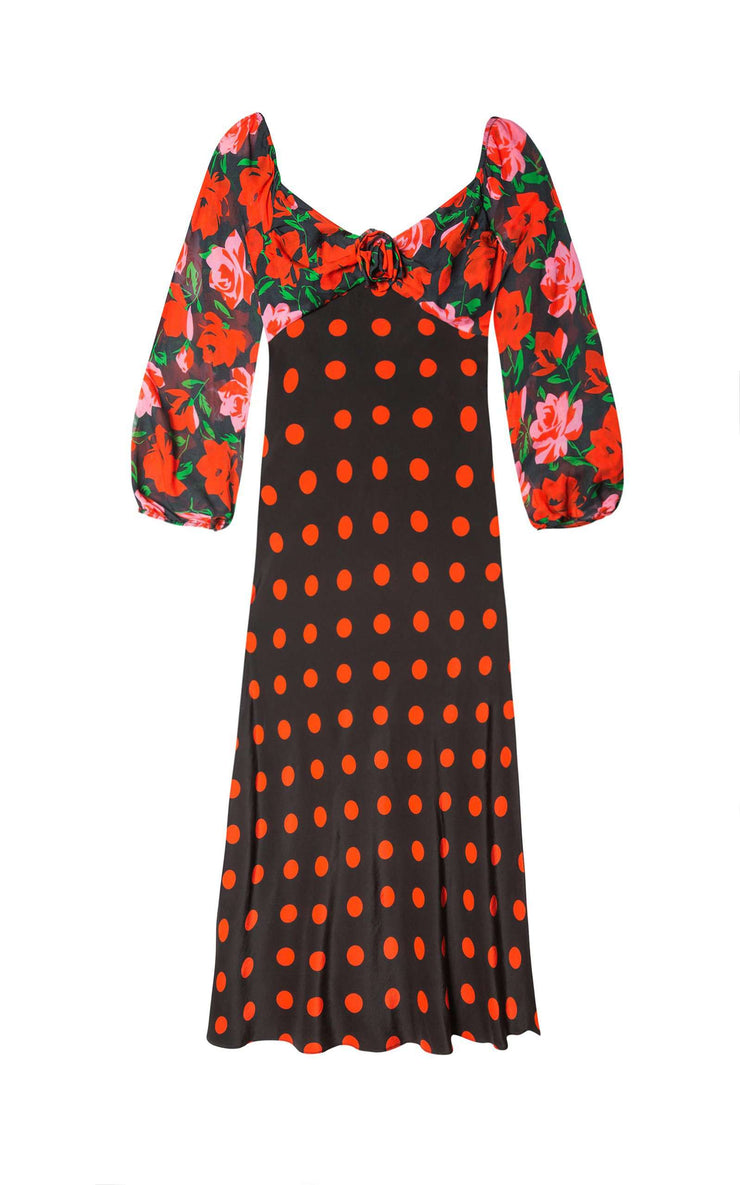 Josephine - Large Rose Black Polka Jewel Neckline Midi Dress
